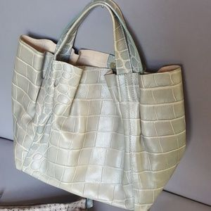 Furla leather embossed grey green tote like new
